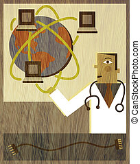 A physician holding up a globe with computers orbiting...