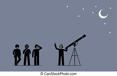 A physicist with a telescope telling and explaining to people about his discovery about stars, moon, and space.
