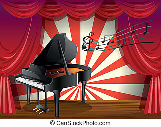 A piano at the stage with musical notes
