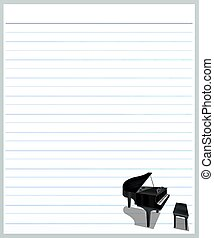 A Piano on Grey Color Lined Paper