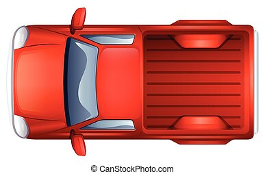 A pick-up vehicle - A topview of a pick-up vehicle on a...