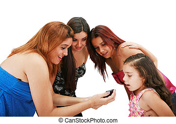 A picture of a group of friends using a cellphone over white background