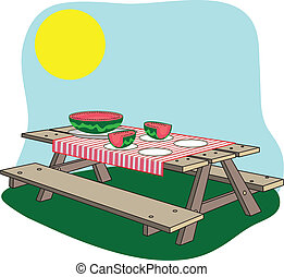 A picture of a picnic bench with a watermelon on it