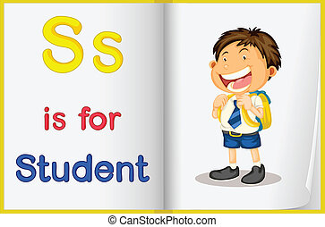 A picture of a student in a book - Illustration of a student...