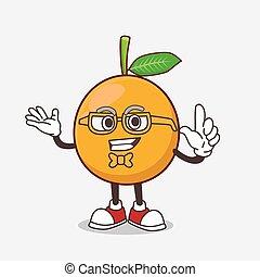African Mangosteen cartoon mascot character in geek style