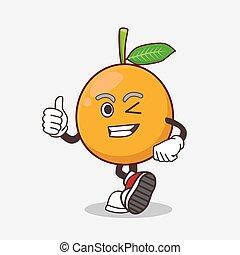 African Mangosteen cartoon mascot character making Thumbs up gesture