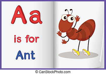 A picture of an ant in a book