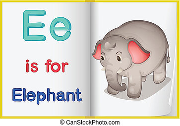 A picture of an elephant in a book