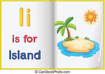 A picture of an island in a book