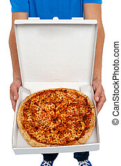 A picture of an  open pizza box.
