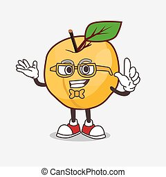 Apricot cartoon mascot character in geek style
