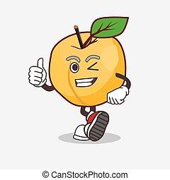 Apricot cartoon mascot character making Thumbs up gesture