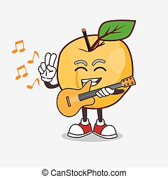 Apricot cartoon mascot character playing a guitar