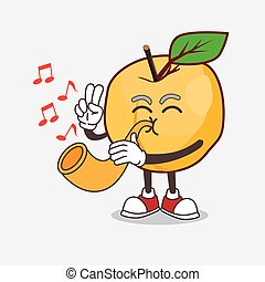 Apricot cartoon mascot character playing music with trumpet
