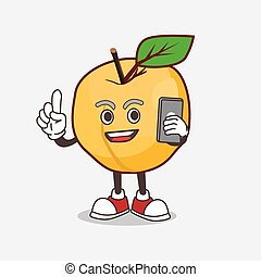 Apricot cartoon mascot character speaking on the phone