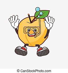 Apricot cartoon mascot character wearing Diving glasses