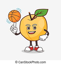 Apricot cartoon mascot character with a basketball