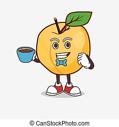 Apricot cartoon mascot character with a cup of coffee