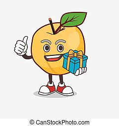 Apricot cartoon mascot character with gift