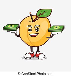 Apricot cartoon mascot character with money on hands
