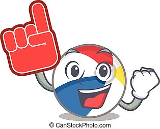 A picture of beach ball mascot cartoon design holding a Foam finger