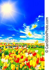 A picture of beautiful view of TULIPS AND BUTTERFLIES
