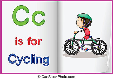A picture of cycling in a book