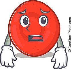 A picture of erythrocyte cell showing afraid look face. ...