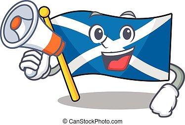 a Picture of flag scotland Scroll holding a megaphone