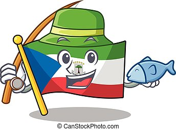 A Picture of funny Fishing flag equatorial guinea Scroll ...