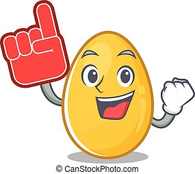 A picture of golden egg mascot cartoon design holding a Foam finger