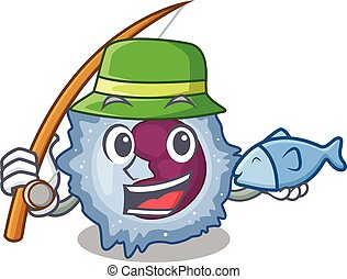 A Picture of happy Fishing monocyte cell design. Vector ...