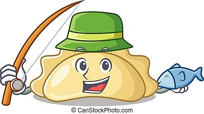 A Picture of happy Fishing pierogi design. Vector illustration