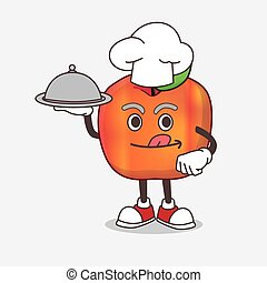 Honeycrisp Apple cartoon mascot character as a Chef with food on tray ready to serve
