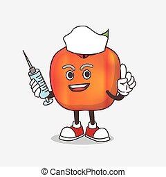 Honeycrisp Apple cartoon mascot character as nurse with medical syringe