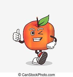 Honeycrisp Apple cartoon mascot character making Thumbs up gesture