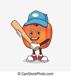 Honeycrisp Apple cartoon mascot character playing baseball
