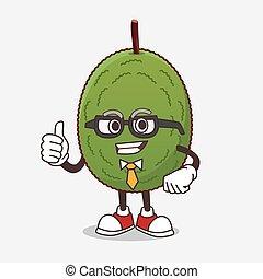 Jackfruit cartoon businessman mascot character wearing tie and glasses