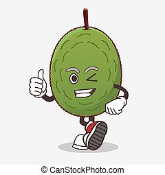 Jackfruit cartoon mascot character making Thumbs up gesture