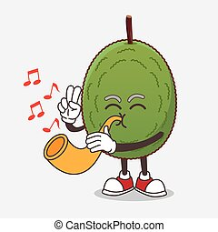 Jackfruit cartoon mascot character playing music with trumpet