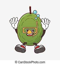 Jackfruit cartoon mascot character wearing Diving glasses