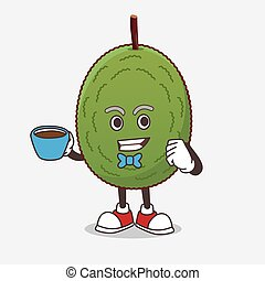 Jackfruit cartoon mascot character with a cup of coffee