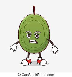 Jackfruit cartoon mascot character with angry face
