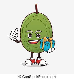 Jackfruit cartoon mascot character with gift