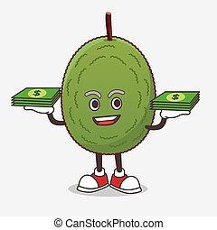 Jackfruit cartoon mascot character with money on hands