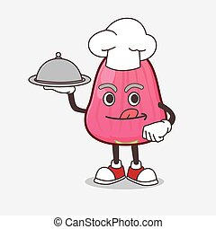 Java Apple cartoon mascot character as a Chef with food on tray ready to serve