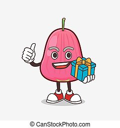 Java Apple cartoon mascot character with gift