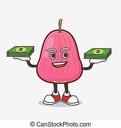 Java Apple cartoon mascot character with money on hands
