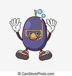 Java Plum cartoon mascot character wearing Diving glasses