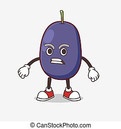 Java Plum cartoon mascot character with angry face
